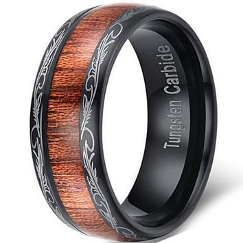 CERTIFIED 8mm Black Tungsten Carbide Ring Wedding Engagement Band Grain Lasered Edges KOA Wood Inlay
