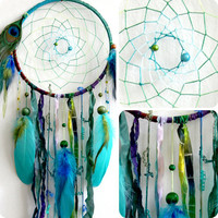 The Peacock Native Woven Dream Catcher