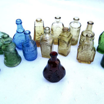 Miniature Colored Glass Bottles Set of 17 Instant Collection Craft Supplies