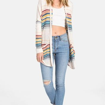 Junior Women's Billabong 'Outside Lines' Stripe Cardigan,