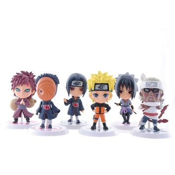 Naruto Sasauke ninja 6Pcs/Set Anime  sasuke Figure Set Figurine PVC Toy Action Figure Japanese anime 7cm Collection Action Figure Toys Gift AT_81_8