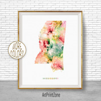 Mississippi Map Art Mississippi Art Print Mississippi Decor Mississippi Print Map Print Map Poster Office Art Print ArtPrintZone