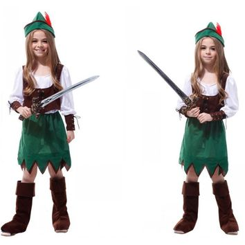 M-XL Halloween Costume for Children Girl Kids Pirate Robin Hood Cosplay Fantasia Disfraces Stage performance dress game uniforms