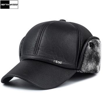 [NORTHWOOD] High Quality Solid Winter Bomber Hats Winter Hats With Ear Flap Faux Leather Mens Caps and Hats Bone Masculino