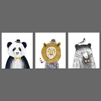 Cartoon animal panda lion bear birds decoration hats wall art picture oil black white heart Canvas Painting living room unframed