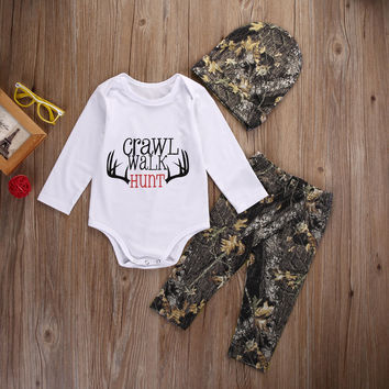 Newborn Toddler Baby Boy Girl Clothes Set Casual Long Sleeve Tops Pants Hat Vintage Outfits Set Baby Boys Clothing