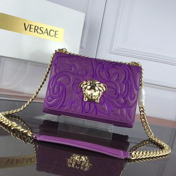 DCCK2 V0011 Versace Embroidered Expanding File Handbag 25-18-6.5cm Purple