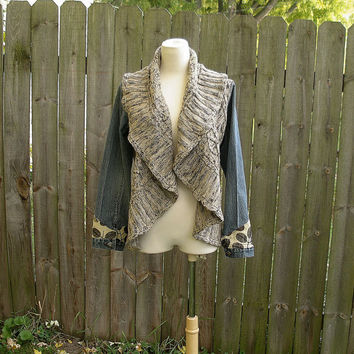 OOAK Romantic Woodland Lagenlook Eco Upcycled Reconstructed Artsy Boho Denim Jean Jacket Sweater vest cardigan M L/XL