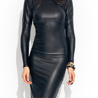 Black Round Neck Long Sleeve Bodycon Mini Dress