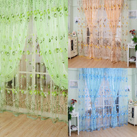 LS4G 1M*2M  Blue Green Orange Voile Curtain Chic Room Tulip Flower Sheer Curtain Home Decoration Free Shipping