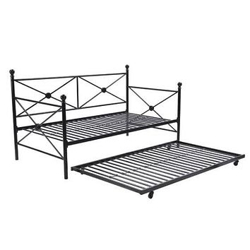 Full size Black Metal Daybed Frame with Twin Roll-out Trundle