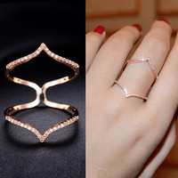 Double Chevron Micro Pave Cubic Zirconia Ring Celebrities Thin Diamond Ring Geometric Ring Stacking Ring Wave Fancy Party Everyday, AR0053A
