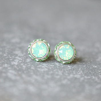 Mint Opal Earrings Swarovski Crystal Minty Celery Green Rhinestone Studs Sugar Sparklers Small Mashugana