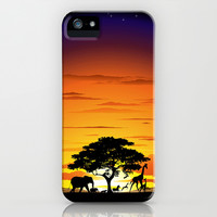 Wild Animals on African Savannah Sunset  iPhone & iPod Case by Bluedarkat Lem