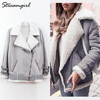 Womens Suede Jacket Women Plus Size Winter Velvet Coat Fleece Parka Jacket With Fur Collar Women Suede Jackets Winter Warm Coat