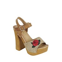 Ladies fashion leather upper slingback strap with buckle, with wooden stacked block heel.