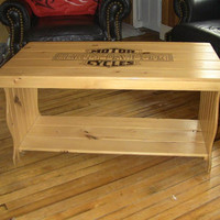 Harley Davidson Wood Coffee Table unfinished Pine