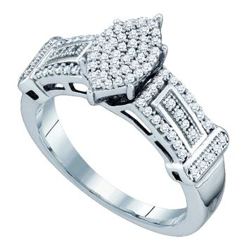 Sterling Silver Women's Round Diamond Oval Cluster Bridal Wedding Engagement Ring 1-3 Cttw - FREE Shipping (USA/CAN)