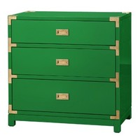 Tansu 3-Drawer Side Table - Emerald Green
