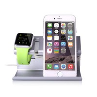Apple Watch Stand, iPhone 6 Stand, BENTOBEN Charging Stand Dock Station Cradle Nightstand for Apple Watch and iPhone with Cable Winder Detachable Construction Anti Slip Foam Cushion - Silver