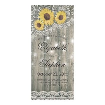 Rustic Wood Sunflower Elegant Lace Wedding Program