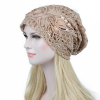 Turban Hats Slouchy Beanie Knitted Women Cap Flower Lace Fashion Hat Female Winter Skullies Caps Stylish Girls Butterfly Beanies