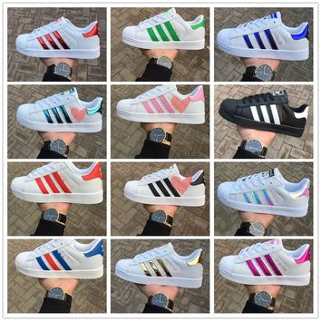 explosion READY STOCK  Adidas superstar sneakers shoe laser hologram holographic series small white shoes