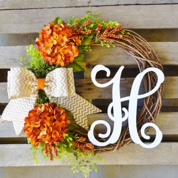 Fall Wreath,Monogram Wreath,Grapevine Wreath, Hydrangea Wreath, Door Monogram,Thanksgiving Decor, Fall Decor
