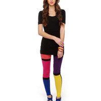 Bright Leggings - Color Block Leggings - Colorful Leggings