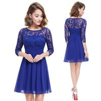 2016 fashion dresses new Spring summer plus size women clothing lace stitching pleated chiffon dresses vestidos blue 4XL