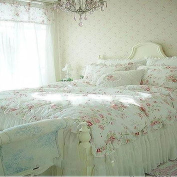 Vintage Red Rose princess Bedding set floral cotton girls Duvet Cover king queen twin rural comforter set