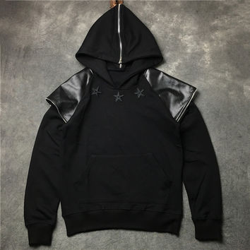Patchwork Zippers Decoration Unisex Hoodies Jacket [10159719943]