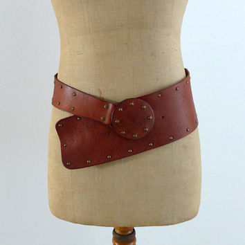 Vintage designer Ted Baker tan and brass stud boho wide belt sz S/M