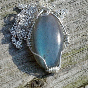 Labradorite Stone Pendant on a Sterling Silver Chain ~ Grey Blue Iridescent Stone ~ Sterling Silver Hand Wired Necklace ~ Canadian Gemstone