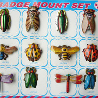 VINTAGE 1960's Set of 12 Charming Bug / Insect Embossed Tin Badge / Brooch / Pin , Made in Japan , New Old Store Stock , Display Card
