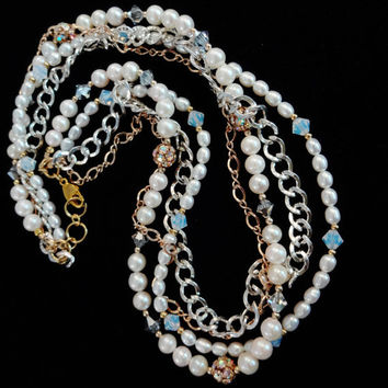 Freshwater Pearl, Swarovski Crystal, Silver Chain, 14k Gold Fill Chain Four Strand Bridal Necklace, Mixed Metals, white pearl necklace