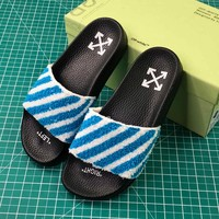 Off-white Striped Terry Slides Black Blue Sandals - Best Online Sale