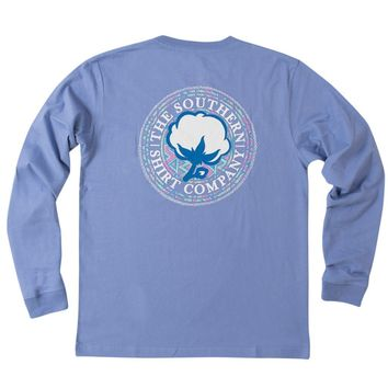 Aztec Logo Long Sleeve Tee Shirt in Periwinkle by The Southern Shirt Co. - FINAL SALE