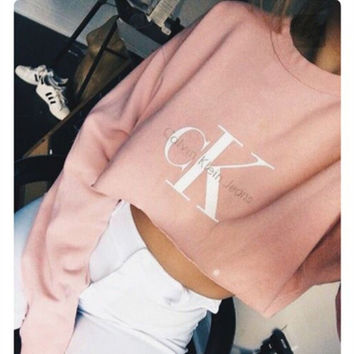 Round-neck Tops Crop Top Long Sleeve Hoodies Pink