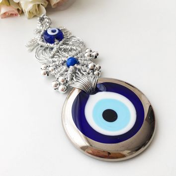 Macrame evil eye wall hanging | silver evil eye charm | large evil eye wall hanging