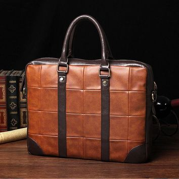 2018 fashion men handbag New Mens Vintage Designer Briefcase Bag Business Synthetic Leather Handbag Bag