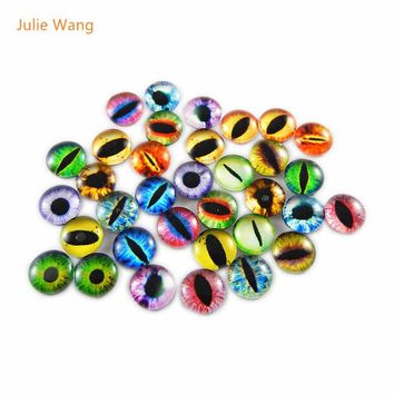 Julie Wang Round 8MM 50pcs Glass Dragon Lizard Frog Vivid Eyes Handmade Fashion Cabochon Not Heated Crafts Charms Accessory