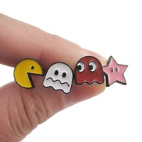 Namco Pac-Man and Ghost Arcade Game Themed 4 Piece Stud Earring Set
