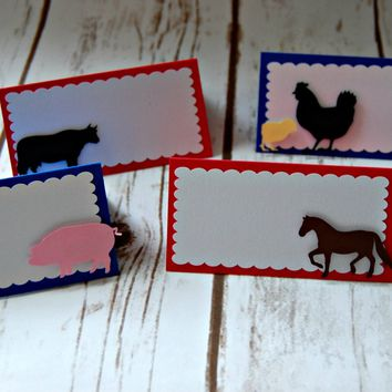 Vintage Chic Farmer's Party Name Cards, Farm Birthday Buffet Tags