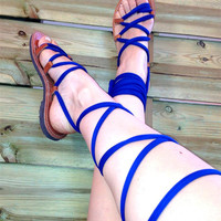 Gladiator Sandals - Electric Blue Fabric
