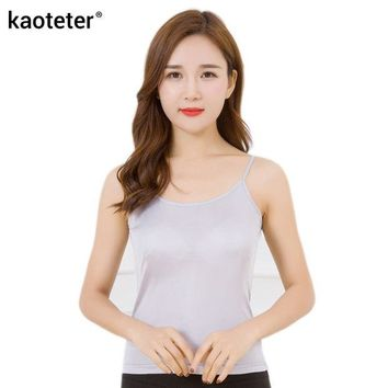 DCCKFC9 100% Pure Silk Women's Camisoles Simple Women Halter Tops Female Wild Black Solid Camis Casual Woman