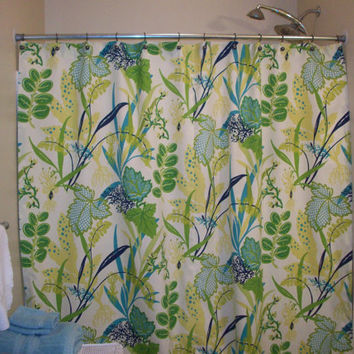 Shower Curtain Extra Wide or standard width & length also! Custom Bath /Waverly Fishbowl Aquamarine fabric
