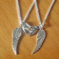 Set of 2 Angel wing Necklaces, best friend necklaces, sisters necklaces, silver necklaces, Her and His necklaces, couples Gift