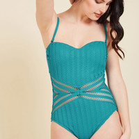 Meshed Opportunity One-Piece Swimsuit | Mod Retro Vintage Bathing Suits | ModCloth.com