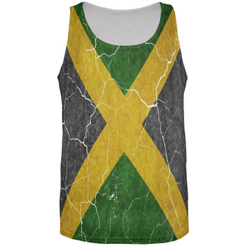 Distressed Jamaican Flag All Over Mens Tank Top